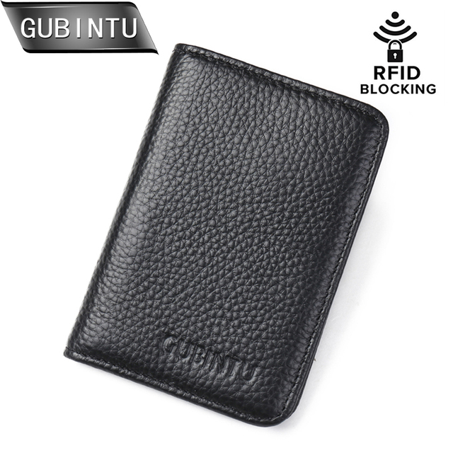 8c6571608d9 GUBINTU Lederen Credi Card Portemonnee RFID Voorvak Portemonnee Heren  Vrouwen Id-kaart Pak Bank Kaarthouder