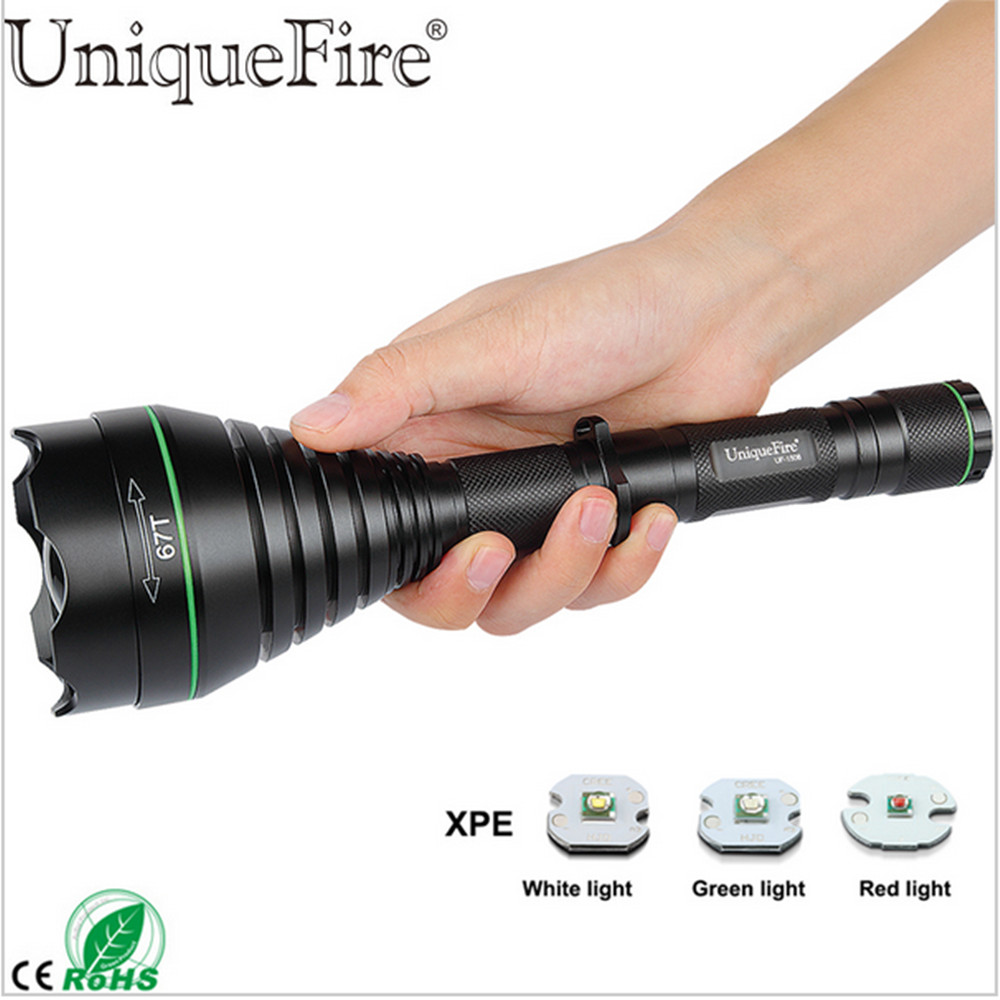 UniqueFire 1508 67mm CREE XPE 3 Modes Zoomable LED Flashlight Torch Green/Red/White For Outdoor Camping Hunting free shipping newest uniquefire mini rgw002 aspherical lens zoomable led flashlight white red green emitting color for camp