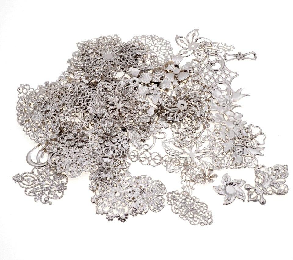 Free Shipping! 30Pcs White K Mixed Metal Filigree Wraps Connectors Metal Crafts Gift Decoration DIY