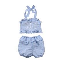 Toddler Baby Girl Swimwear Two-Pieces Seersucker Bikini Bathing Suits Beachwear  Kids Swimming Costume
