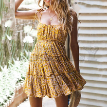 CUERLY Sexy floral print short dress women Summer buttons plus size female beach Holiday elegant vestidos