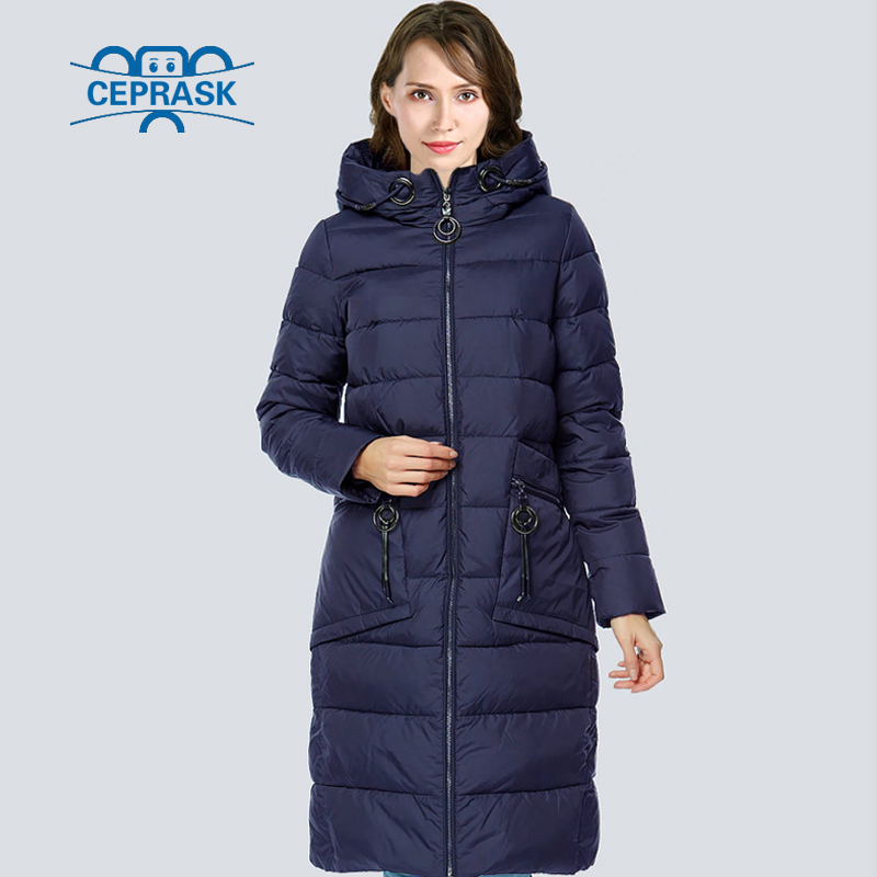 CEPRASK 2018 High Quality Winter Jacket   Parkas   Women Plus Size Long Fashionable Women's Winter Coat Hooded Warm Down Jackets