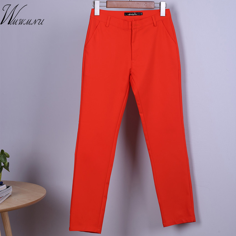 Women Autumn Cute 20 Candy Colors Pencil Pants Elegant Basic Stretch Plus Size Mom Pants Leggings Pants Fashion Casual Trousers
