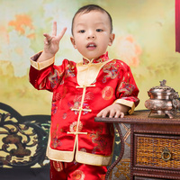 Spring Autumn Gorgeous Embroidered Children Ancient Chinese Costume Baby Boy Girl New Year Joyous Red Performing
