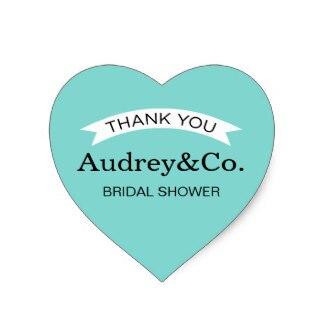 38cm bridal shower favor stickers aqua blue