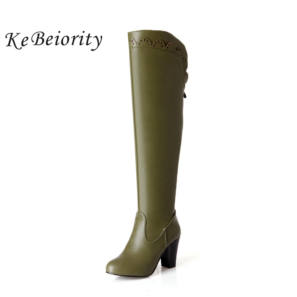 kebeiority the knee leather boots blue