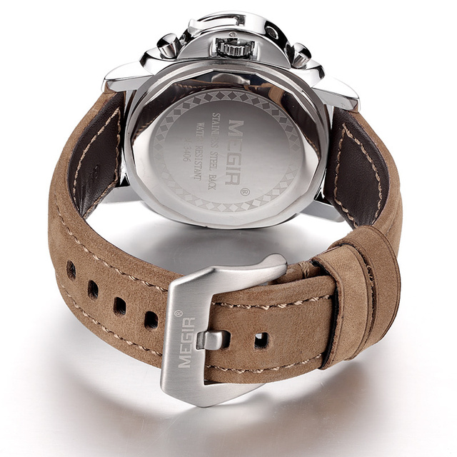 Luxury Brand Quartz Watch Analog Chronograph with Leather Strap 4