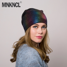 MNKNCL Women's Hats Wool High Quality Casual Autumn Winter Brand New Double Layer Thick Knitted Hats For Girls Skullies Beanies