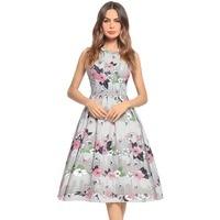 Best selling pink dresses women's sleeveless print hepburn big dress for exclusive