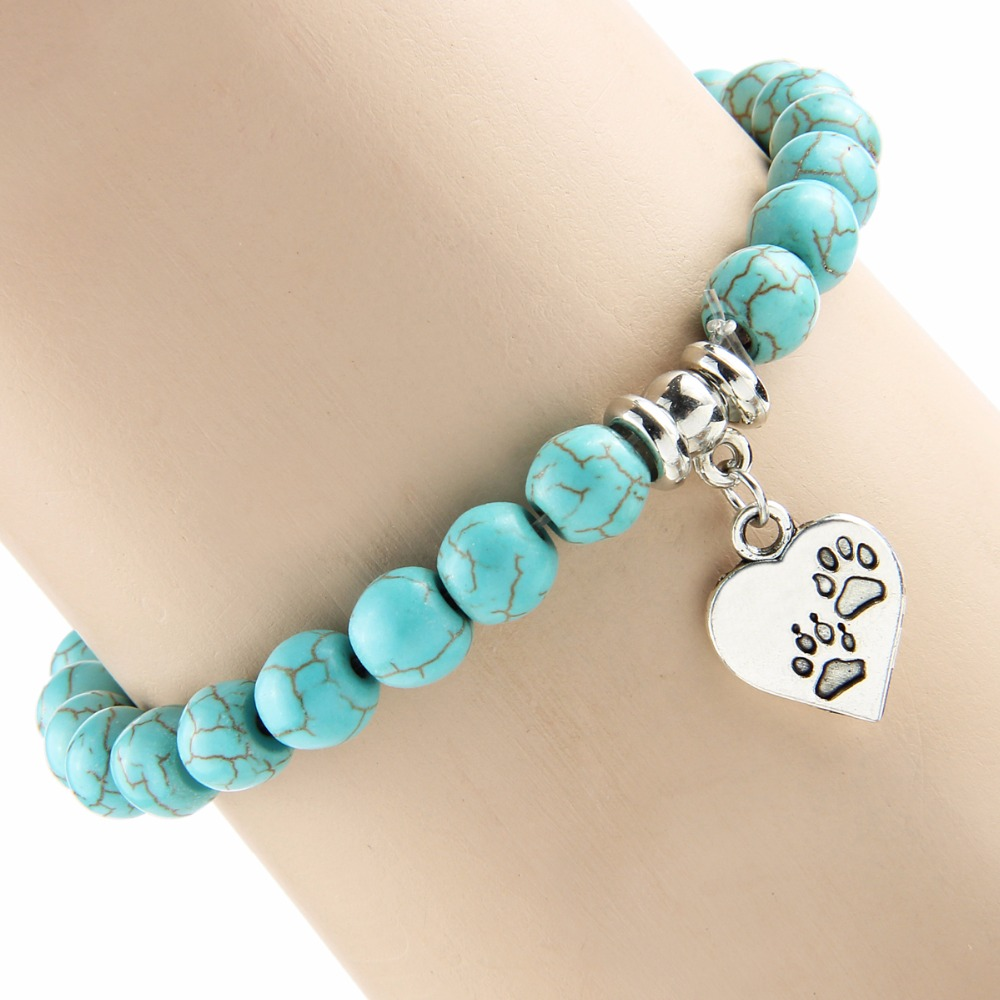 Bespmosp Vintage Heart <font><b>Dog</b></font> Cat Animal Feet Footprint Blue Bead Pendant <font><b>Bracelet</b></font> Women Girl Bangle Statement Jewelry Wristband image