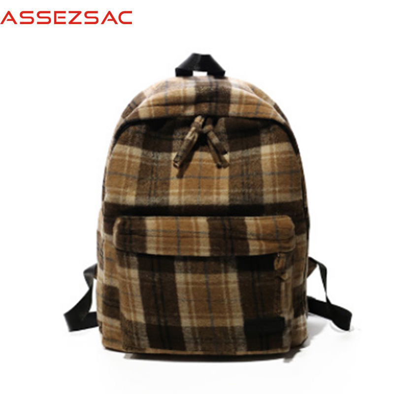 Best buy Assez sac Cotton Fabric women backpacks Casual school style girls  concise plaid versatile panelled teenager lady bags A3570 j online cheap ba575fd3bba2a
