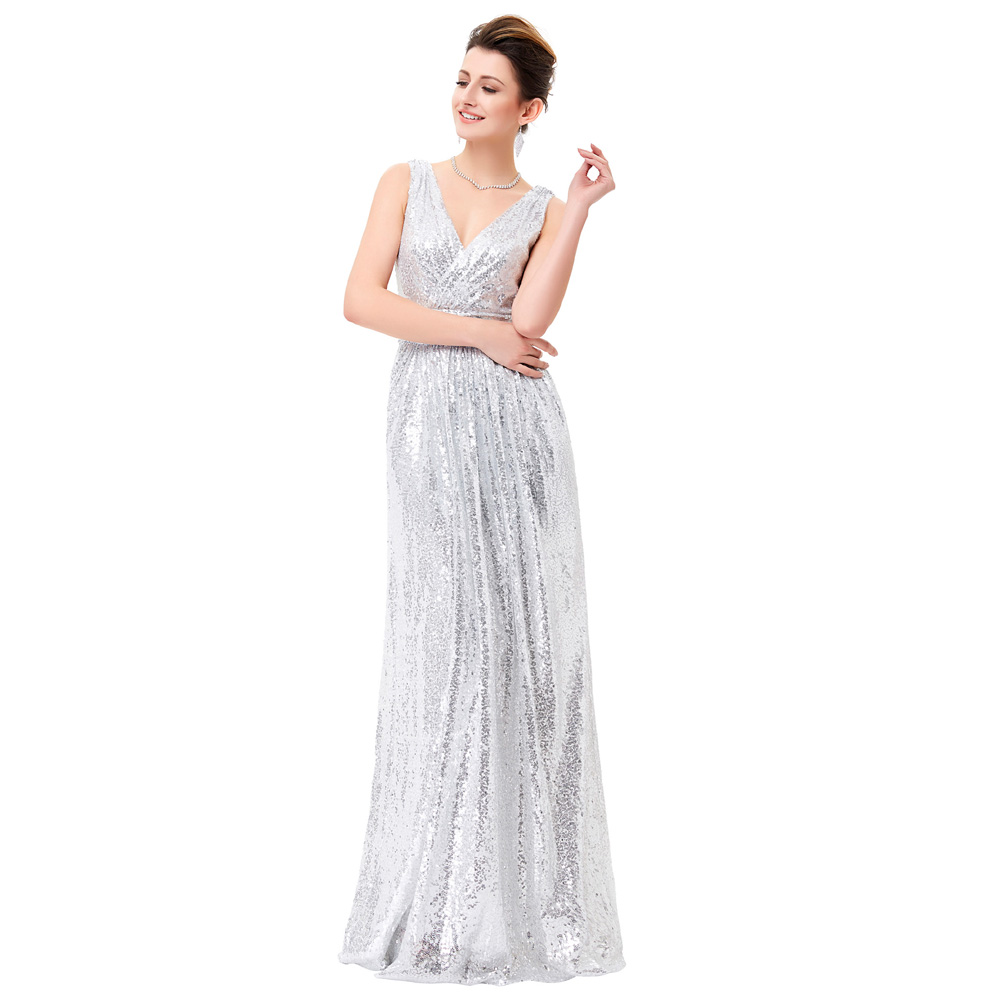 Aliexpress.com : Buy Luxury Gold Silver Long Sequin Evening Dress ...