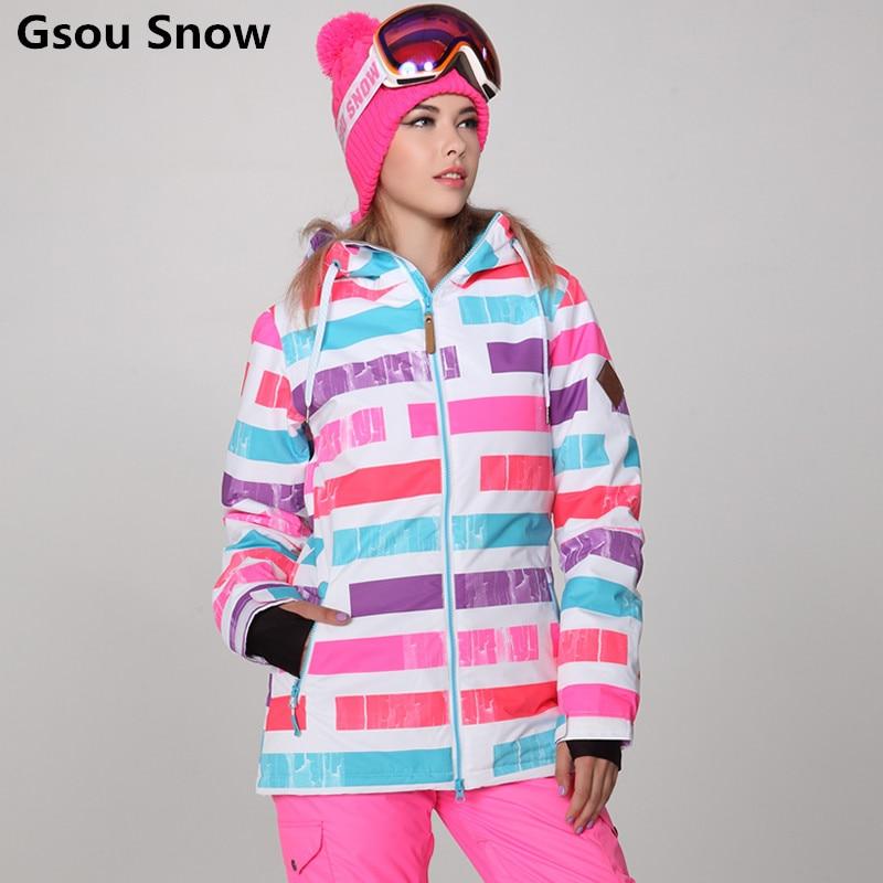 Gsou winter ski suit female ski jacket women snow snowboard jackets femme mountain skiing chaqueta nieve mujer ski jas vrouwen