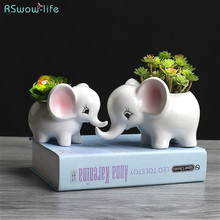 Outdoor Horticulture Creative Fleshy Flower Pot Elephant Ceramic Desktop Potted Ornaments Plants Plant Pots