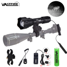 850nm 400yard T20 Adjustable Zoomable Focus Gun Light Tactical hunting Night Vision Flashlight 38mm Convex Lens Infrared Torch