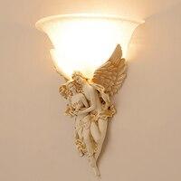Işıklar ve Aydınlatma'ten LED İç Mekan Duvar Lambaları'de Melek şekilli reçine duvar lambası fil şekilli reçine duvar lambası Vintage avrupa tarzı duvar lambaları oturma odası için