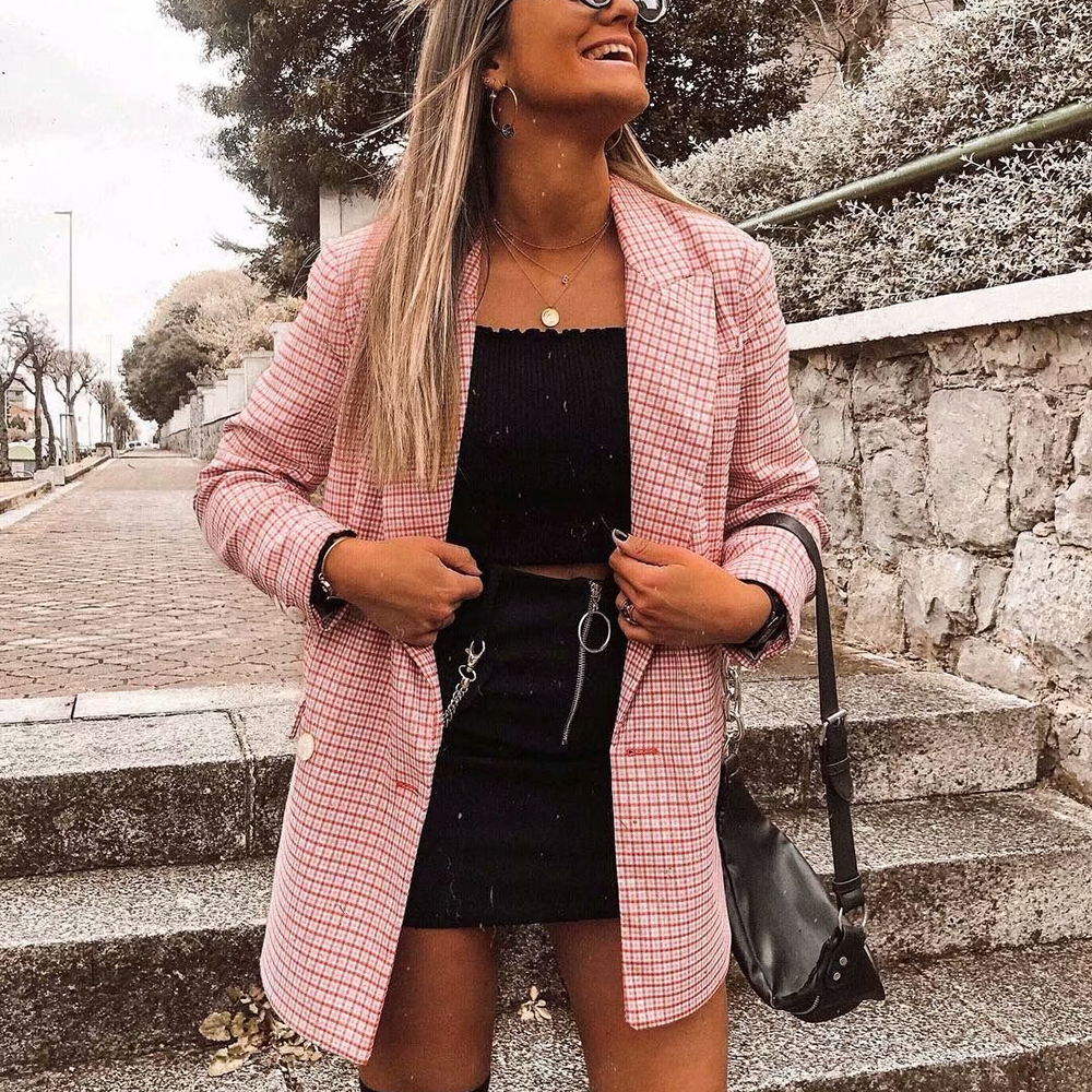Fashion Women Pink Plaid Blazer Suit 2019 Office Ladies Elegant Notched Collar Blazers Long Sleeve Jackets Girls Suits Set Chic
