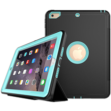 For New Apple iPad 9.7″ 2017 Case Front Flip Screen Cover Shockproof Heavy Duty Silicone Hard Case Built-in Screen Protect Film