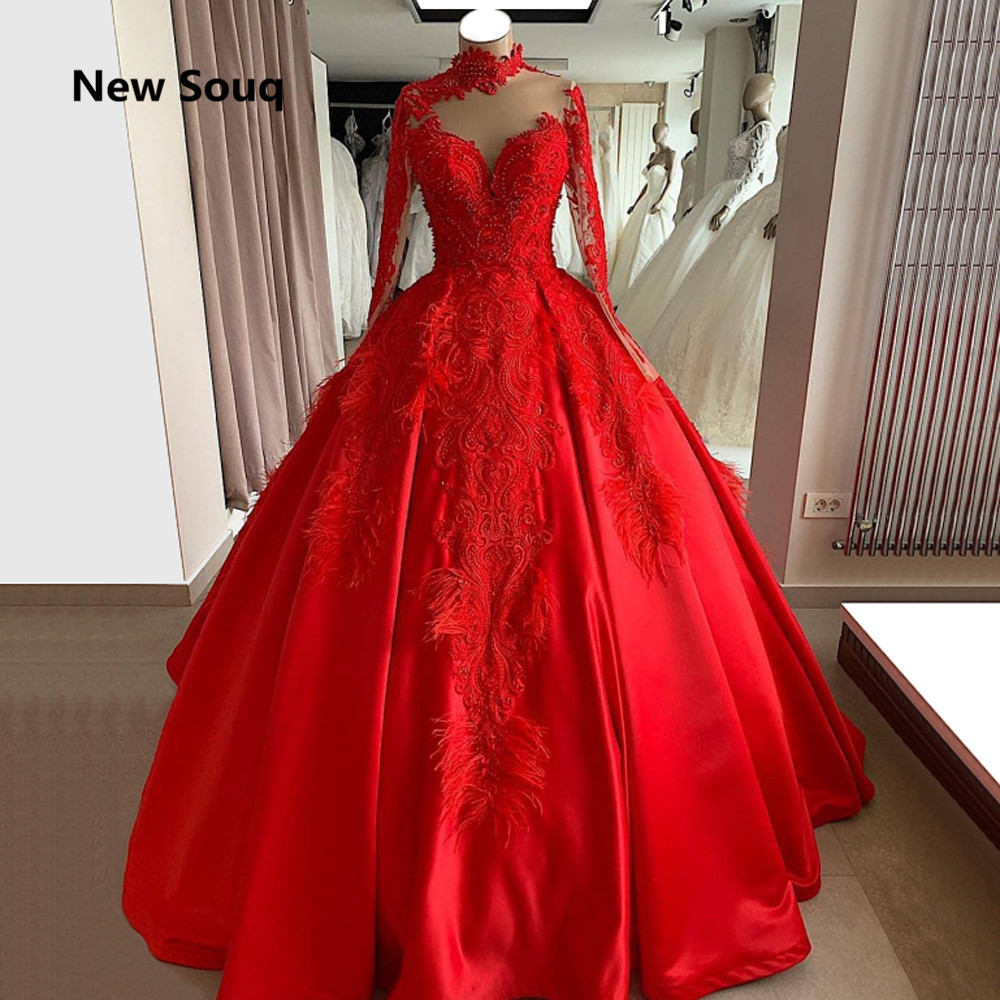 Custom Made Ball Gown Red Wedding Dresses Arabic Muslim Wedding Dress With High Neck Long Sleeves 2019 New Bridal Dress