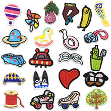 Mini Heart Children Iron Patch on Clothes Stripe Embroidered Applique for Clothing Stickers Garment Badges Sew On
