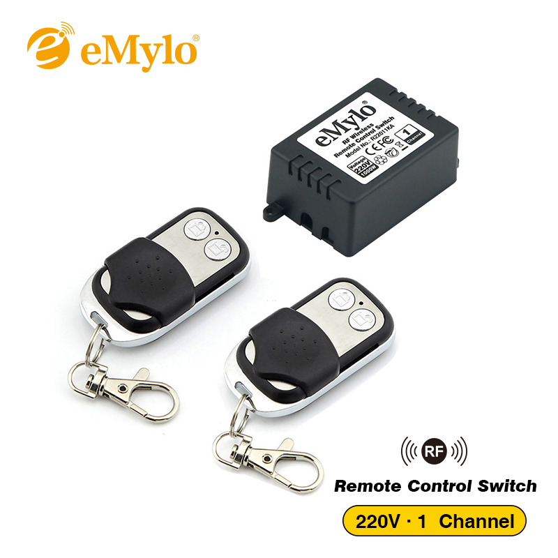 eMylo RF Wireless Light Remote Control Switch 220V 1000W 433Mhz 2X 2-Button Transmitter With One 1ch Relay Toggle Latched Jog emylo ac 220v 1000w 10a 2 channels relay