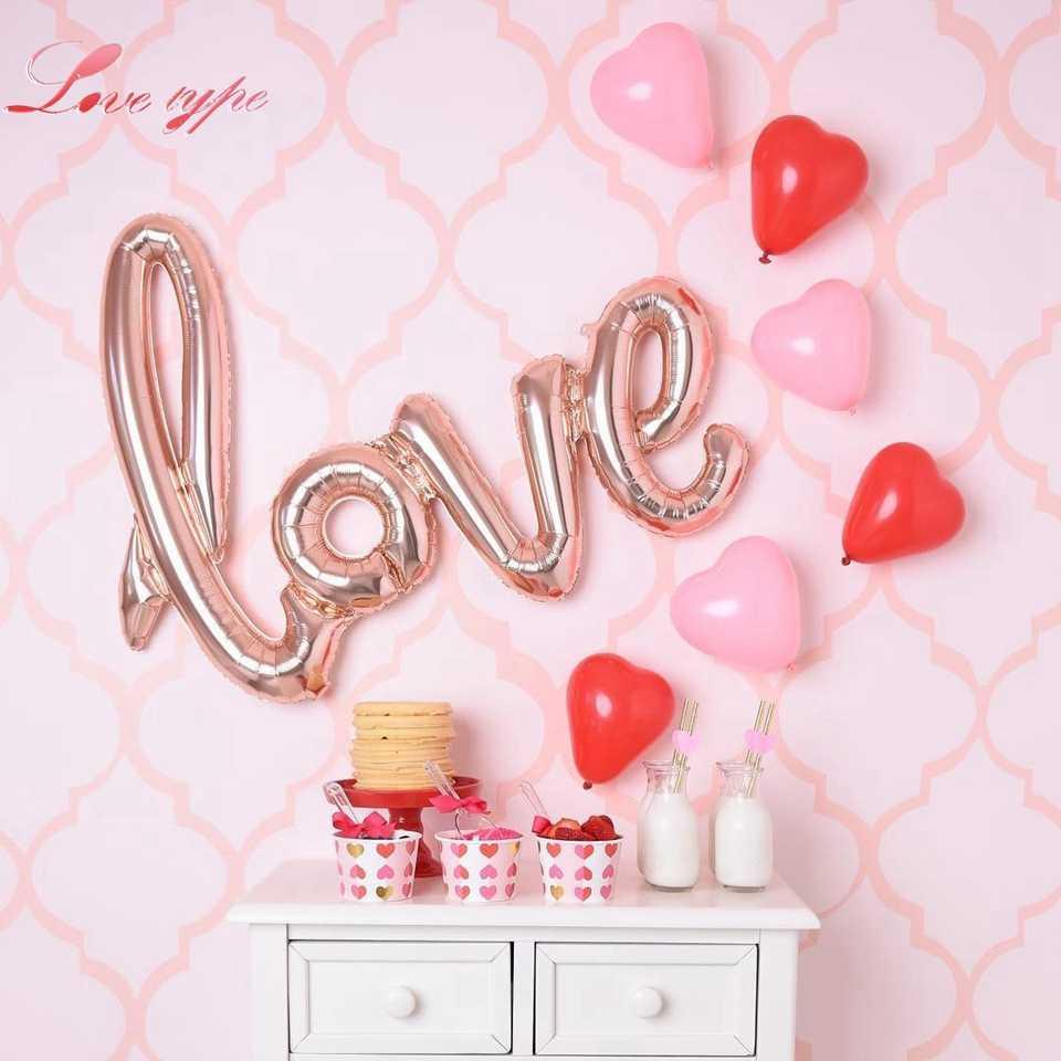Love type Rose Gold Balloons Foil Champagne Heart Star Balloon Wedding Party Decor Latex Ballons for.jpg q50