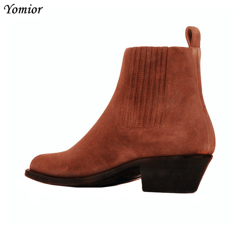 Yomior 2019 Handmade Vintage Men Real Leather Shoes Vintage Gentleman Dress Pointed Toe Ankle Boots Slip On Wedding Chelsea Boot-in Chelsea Boots from Shoes    3