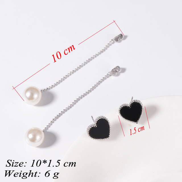 Romantic Beaded Heart Shaped Women's Stud Earrings