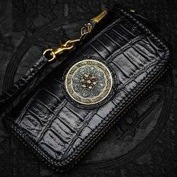 Handmade Black Crocodile Skin knitting Wallets Purses Men Long Clutch Vegetable Tanned Leather Wallet Card Holder