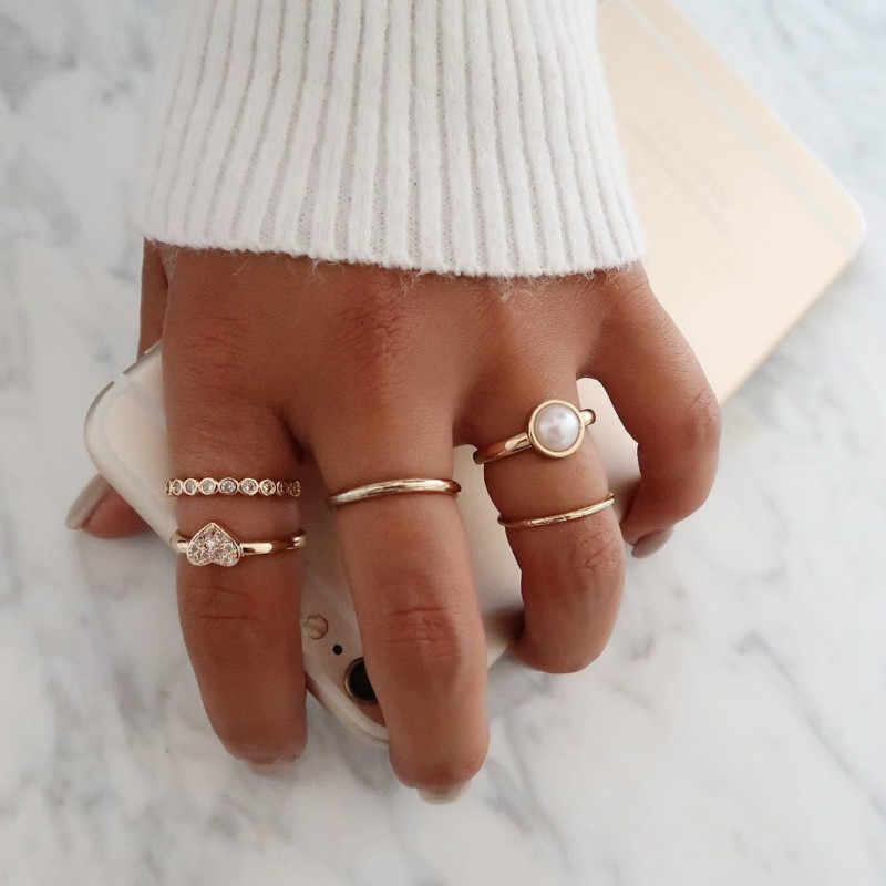 2019 fashion trend popular peach heart combination joint ring 5 piece suit female explosion jewelry
