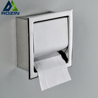 Free Shipping Concealed Install Toilet Paper Holder Inside Wall Mounted Bathroom Roll Tissue Paper Rack