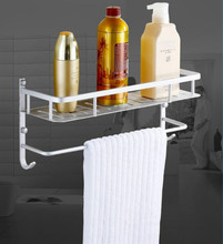High Quality Aluminum Bathroom Shelf Bathroom Shelves Rack Organizer Wall Mounted Shelf Bath Organizer With Towel Hanger Rack стоимость