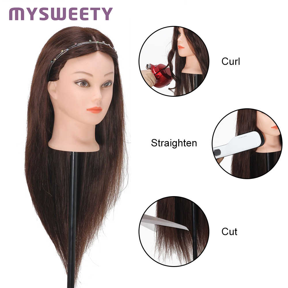 Practice Perming Hairdressing Styling Mannequin Head Professional 60 cm 23 Inch Hairdressing Dolls Heads Female Mannequin