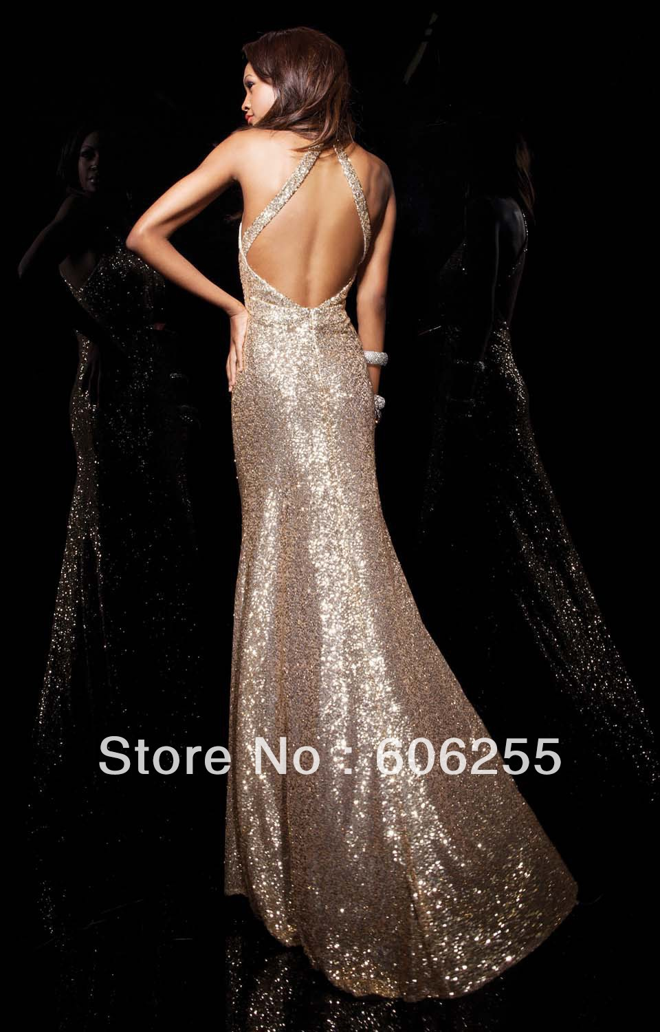 2013 Golden Sheath Halter Evening Dresses Choker Open Back Whith Straps  Sequin Ruching Prom Dress 113728-in Prom Dresses from Weddings   Events on  ... d0d08704a162