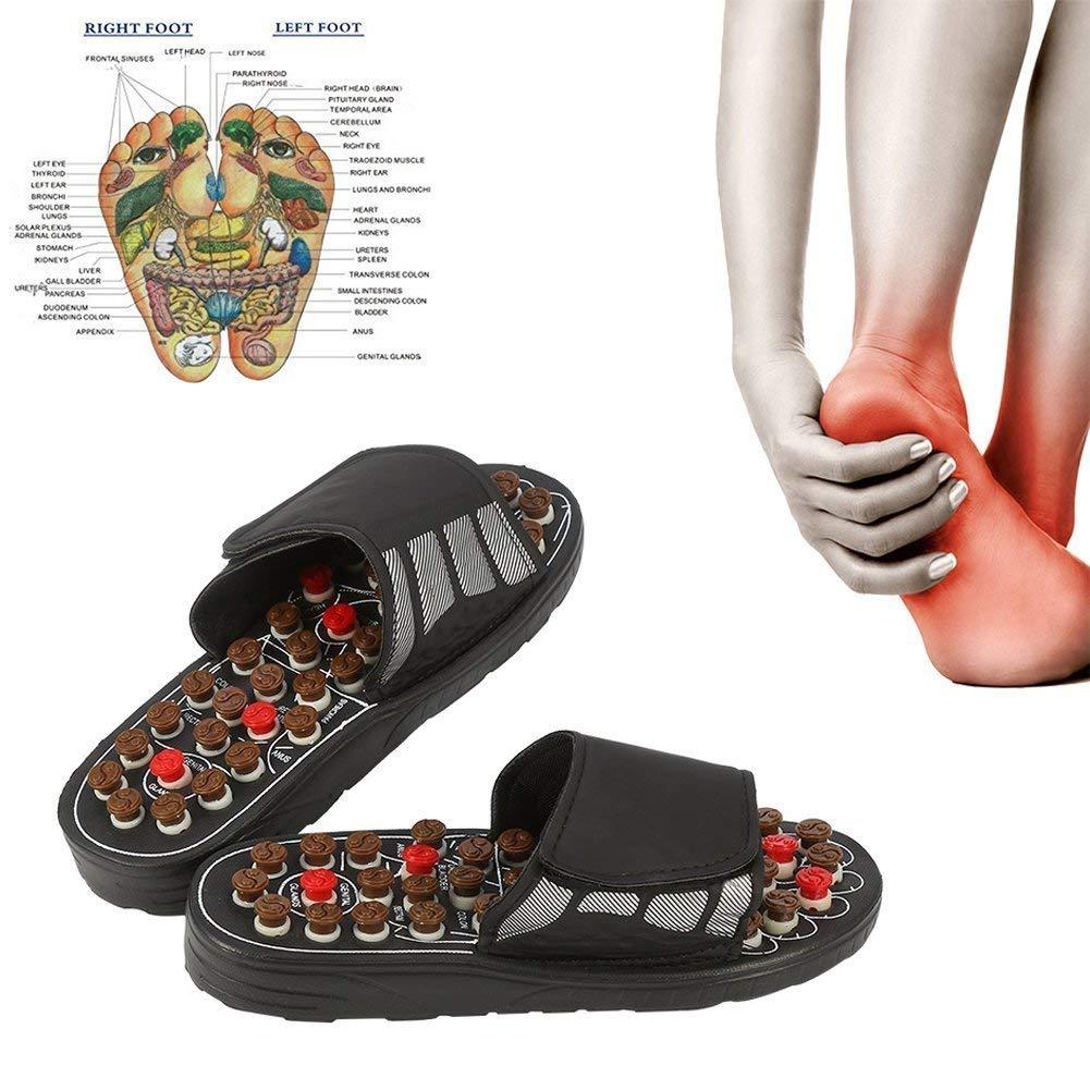 Masaje de pies zapatillas acupuntura terapia masajeador zapatos de pie de acupuntura activando reflexología cuidado de los pies, masajeador sandalias