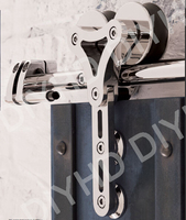stainless steel sliding barn wood door interior glass door double head hollow out hanger wheel barn track sliding kit