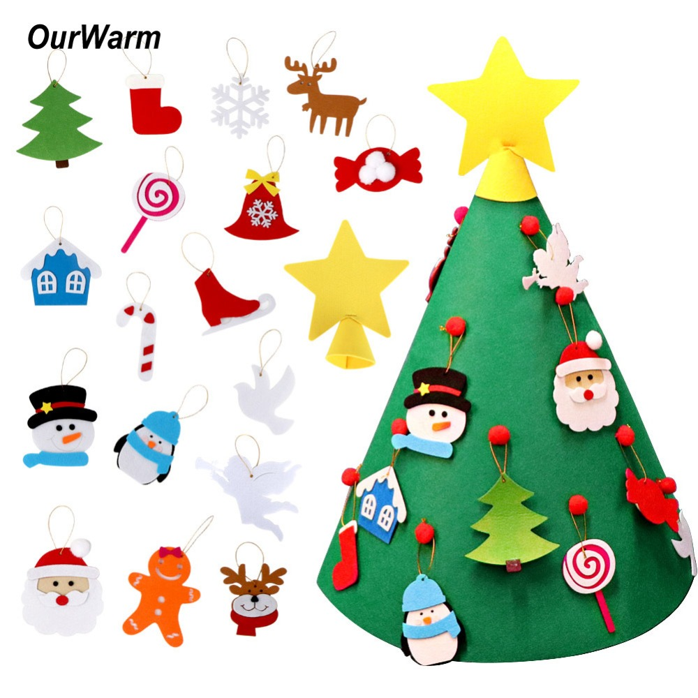 OurWarm DIY Felt Christmas Tree New Year Party Decoration Gift for Toddler 3D Shape Xmas Ornaments For 2019 Festival Supplies
