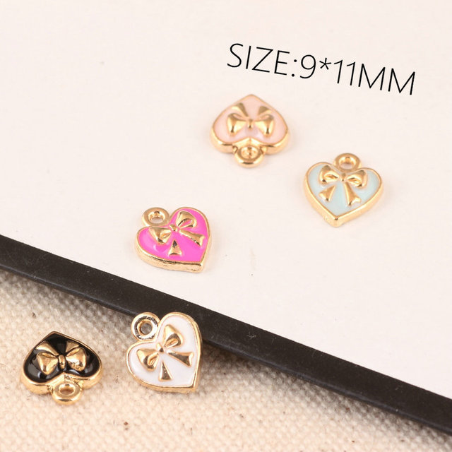 20pcs/lot Charms 9*11mm Heart Bowknot Enamel Charm Pendants Fit DIY Bracelet Necklace Hair Jewelry Accessory DIY