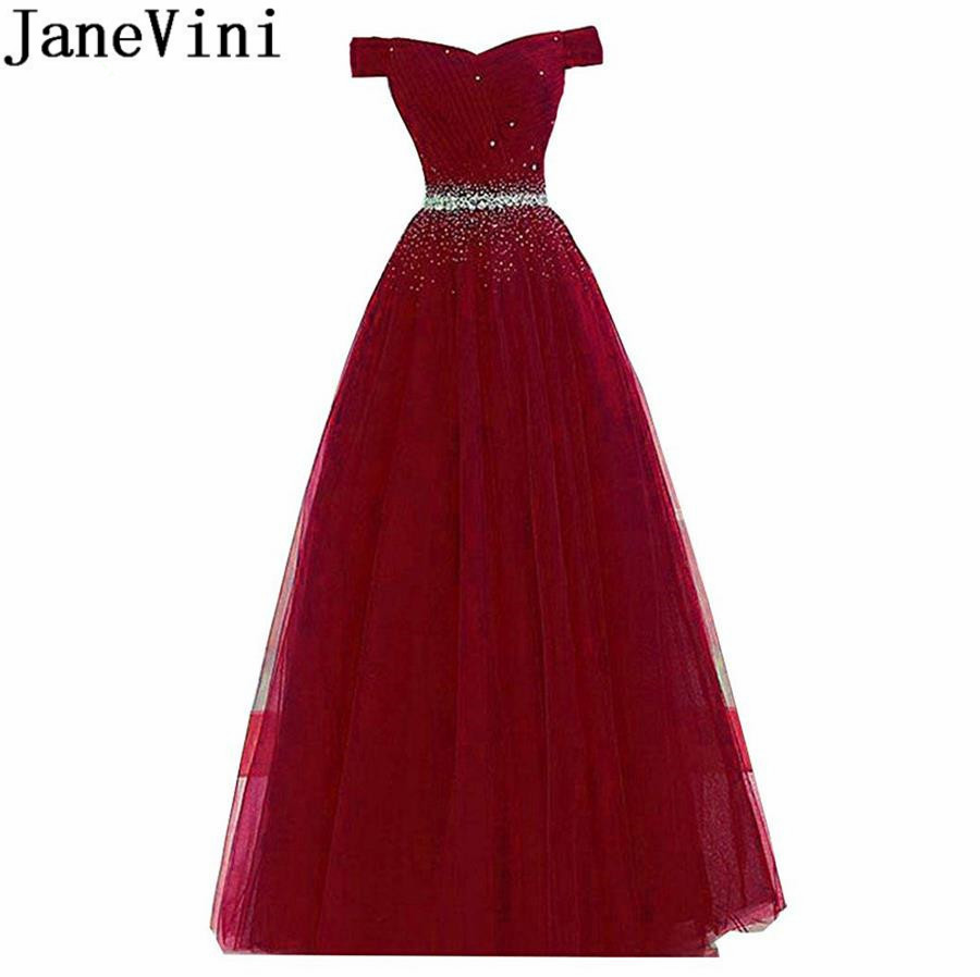 JaneVini Off Shoulder Long Burgundy Party Dress Crystal Beaded 2019 A Line Tulle Bridesmaid Dresses Lace Up Back Formal Gowns