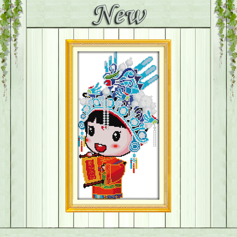 Beautiful Beijing Opera Cartoon Chinese Style Painting Counted Printed On Canvas Dmc11ct 14ct Cross Stitch Kits Embroidery Needlework Sets Home & Garden Cross-stitch