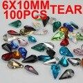 Atacado 100 pcs 6x10mm forma de lágrima pedra pedras de cristal pequeno tamanho grande para a arte do prego diy telefone caso de dezembro. frete grátis