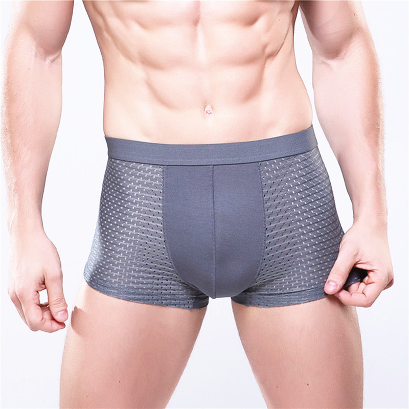 4XL Plus Size Modal Bamboo Men Underwear Breathable Panties Male Underpants Man Sexy Mens Boxer Shorts Gray Mesh Boxers
