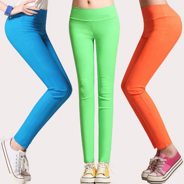 female summer spring candy color plus size East Knitting high waist fashion leggings woman stretchy slim pants