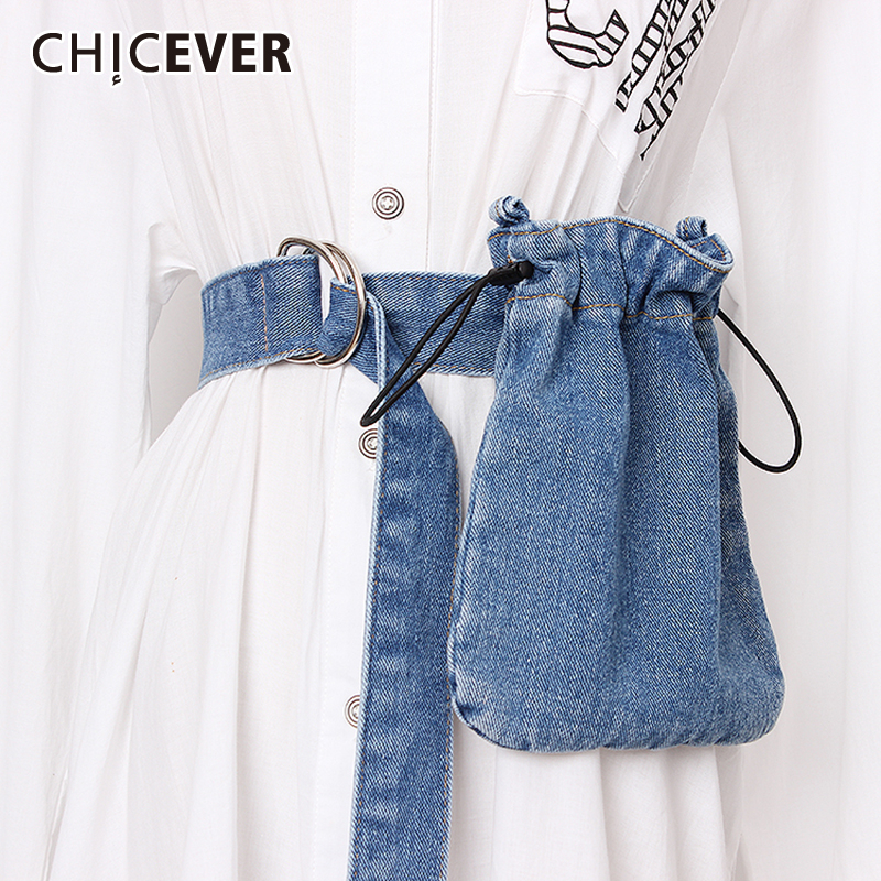 CHICEVER 2020 Summer High Waist Bag Denim Belts Female Vintage Dresses Accessories Solid Belt For Women Fashion New