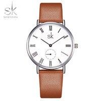 Shengke Top Brand Fashion Ladies Watches Elegant Female Quartz Clock Women Leather Strap Lady Watch Montre