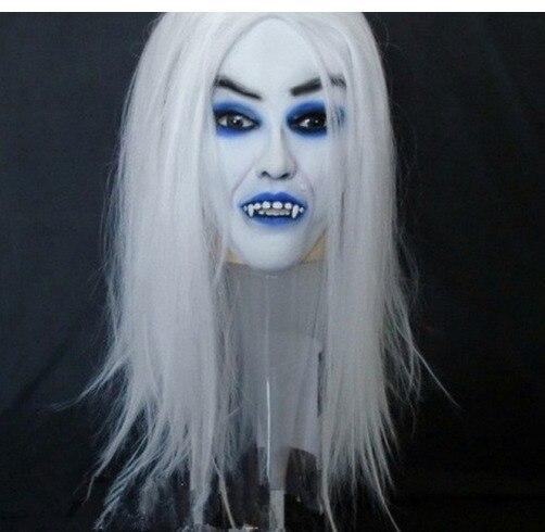 Gshy Masque Blanc Walker Fant/ôme Cosplay Masque de Marcheur Blanc Halloween Horrible Fantome en Latex Taille Unique