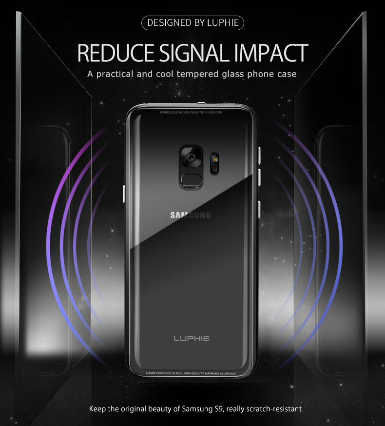 LUPHIE Luxury clear glass cover For Samsung Galaxy S9 S8 Plus Metal Bumper (3)