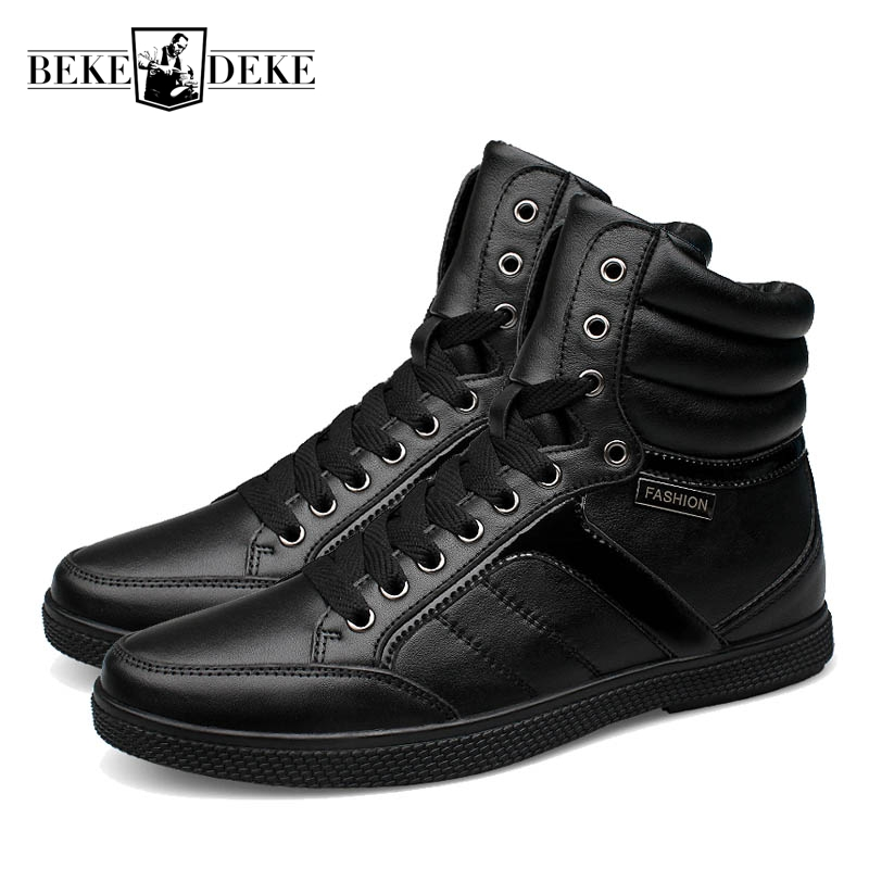 High Top Winter Warm Casual Shoes Men Lace Up Male Genuine Leather Breathable Retro Shoes Footwear Fashion Punk Large Size 48 blaibilton brand winter warm velvet high top men casual shoes luxury genuine leather male footwear fashion designer mens sd3599