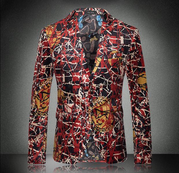 Европа и соединенные Штаты мужская геометрические линии нового фонд 2016 осень печатные бархатный костюм пальто воспитать в себе мораль