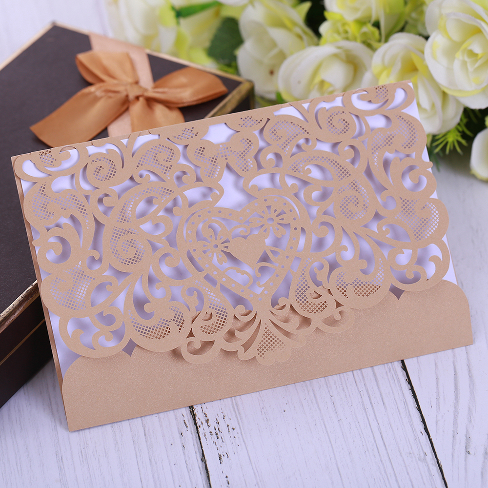 50 pcs Laser Cut Wedding Invitations Cards with Envelops and printable paper for Bridal Engagement Birthday Party Supplies